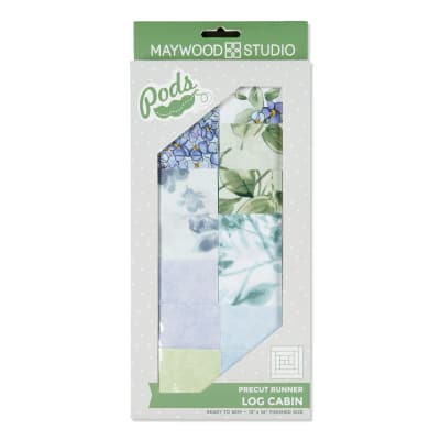 Maywood Studio Watercolor Hydrangeas Pod Log Cabin Table Runner Kit Multi