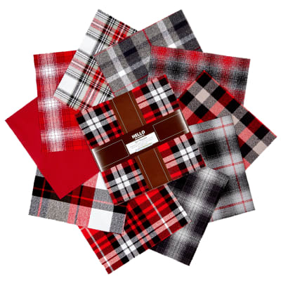 """Kaufman 10"""" Square Mammoth Flannel Red, 42 pcs."""