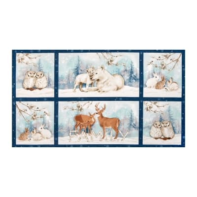 Kaufman Winter White Solstice Animal Panel Mist