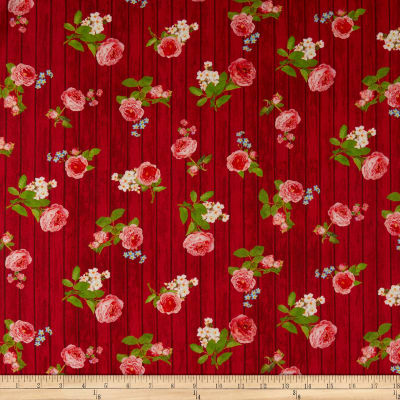 Kaufman Farmhouse Rose Wood Flowers Red
