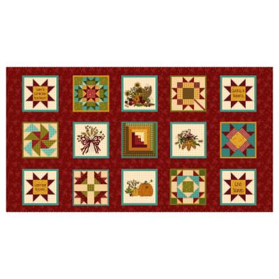 """Henry Glass Live Within Your Harvest 6""""x 6"""" Blocks Red"""