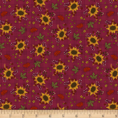 Henry Glass Live Within Your Harvest Sunflower Burgundy