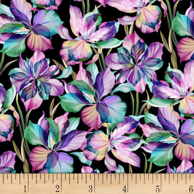 P&B Textiles Flora Fantasia Flowers/Stems Black/Purple