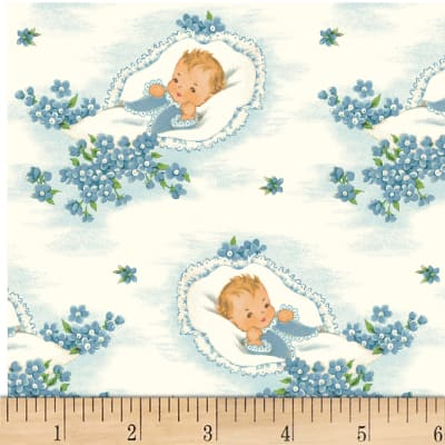 P&B Textiles Welcome Baby Baby/Flowers Blue