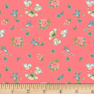 P&B Textiles Welcome Baby Birds & Roses Salmon