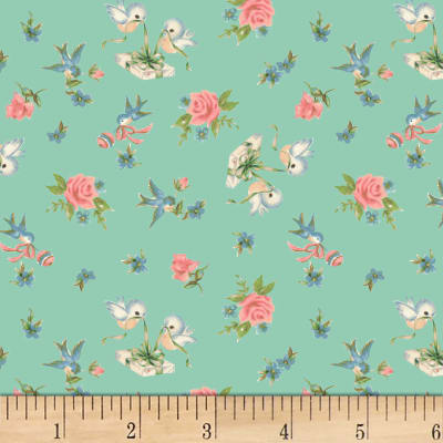 P&B Textiles Welcome Baby Birds & Roses Light Mint