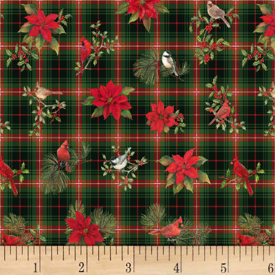 P&B Textiles Christmas Bird Song Large Plaid & Poinsettia Multi