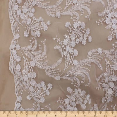 Telio Lindie Lace Mesh Beaded Floral Lace White