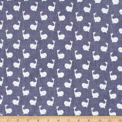 Telio Denim Cotton Print Whale Dark Blue