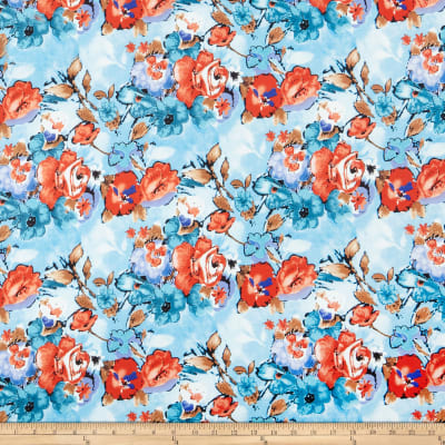 Double Brushed Poly Jersey Knit Floral Garden Blue Watercolor