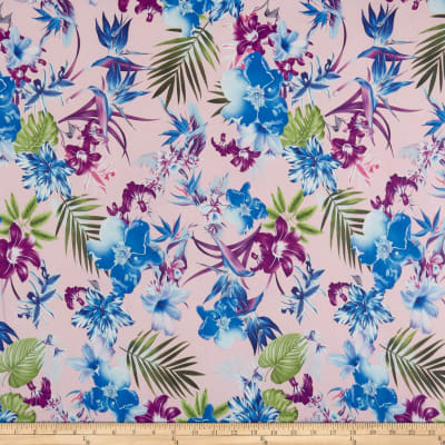 Double Brushed Poly Jersey Knit Tropical Garden Pink/Blue