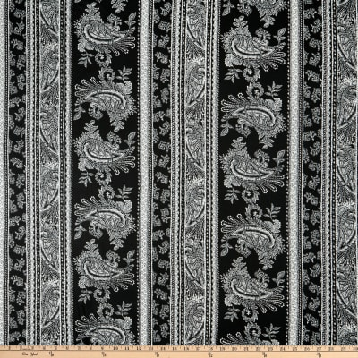Double Brushed Poly Jersey Knit Paisley Black/Ivory