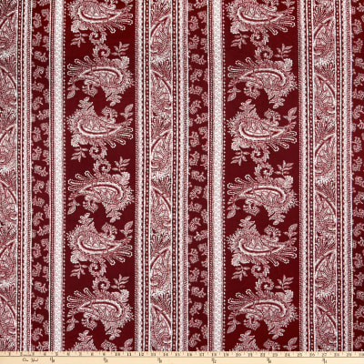 Double Brushed Poly Jersey Knit Paisley Burgundy/Ivory