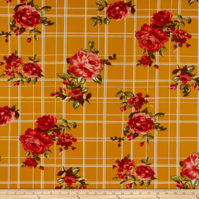 Double Brushed Poly Jersey Knit Floral Plaid Gold/Coral