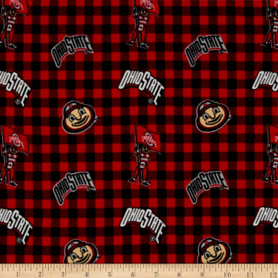NCAA Ohio State Flannel Check Red/Black/White