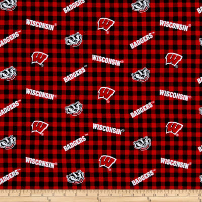 NCAA Wisconsin Flannel Check Red/Black/White