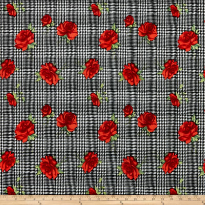 Liverpool Double Knit Plaid Roses Black/Red
