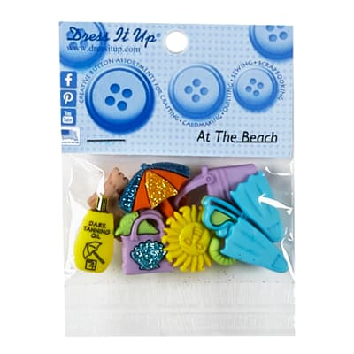 At The Beach Button Pack 6ct