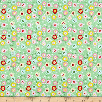 P&B Textiles Flutterby Floral Green