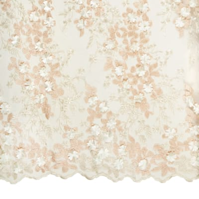 3D Multi Flower Embroidery Champagne