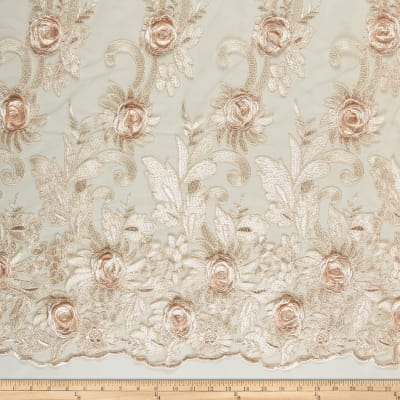 3D Roses Embroidery Mirco Mesh Champagne