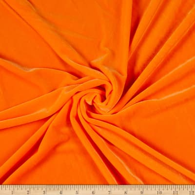 Stretch Velvet Velour Knit Neon Orange