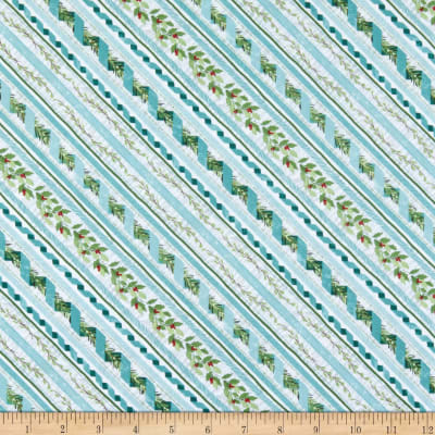 Wilmington Woodland Friends Ticking Stripe Teal
