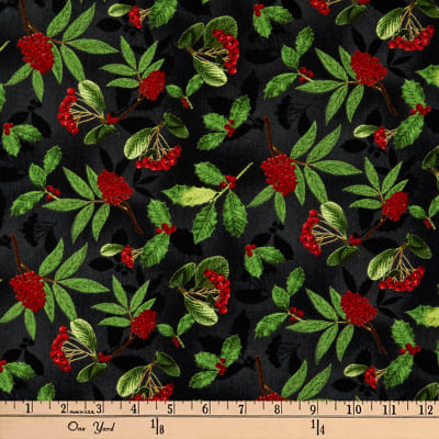 Wilmington Festive Forest Holly and Berries Black