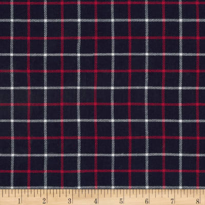 Kaufman Sevenberry: Classic Plaid Twill Navy and Red