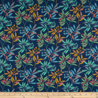 Liberty Fabrics Tana Lawn Ballroom Leaves Blue