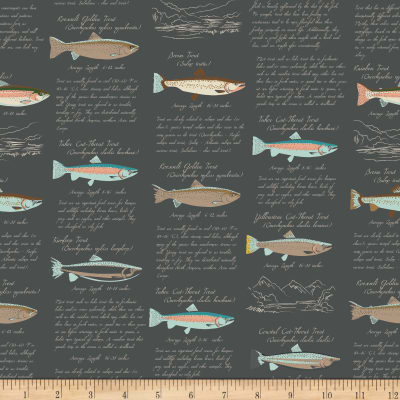 Riley Blake Gone Camping Trout Paper Charcoal