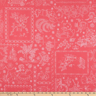 """Riley Blake Granny Chic 108"""" Wide Back Vintage Embroidery Pink"""