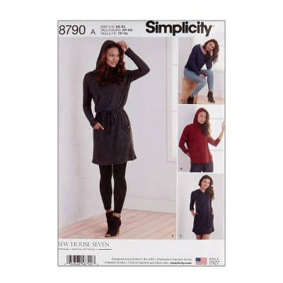 Simplicity 8790 Misses  Knit Dresses and Tunics A (Sizes XS-S-M-L-XL)