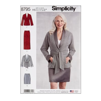 Simplicity 8795 Misses'  Petite Skirt and Jacket H5 (6-8-10-12-14)