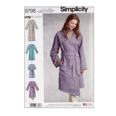 Simplicity 8798 Misses' Unlined Coat with Tie Belt U5 (Sizes 16-24)
