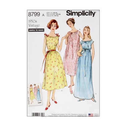 1950s Sewing Patterns | Dresses, Skirts, Tops, Mens 1950s Nightgown Simplicity 8799 Misses Vintage Nightgowns A (Sizes XS-S-M-L-XL) $13.77 AT vintagedancer.com