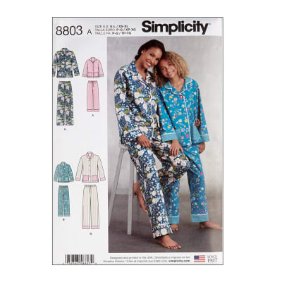 Simplicity 8803 Girls and Misses Set of Lounge Pants and Shirt A (Sizes S-L/XS-XL)