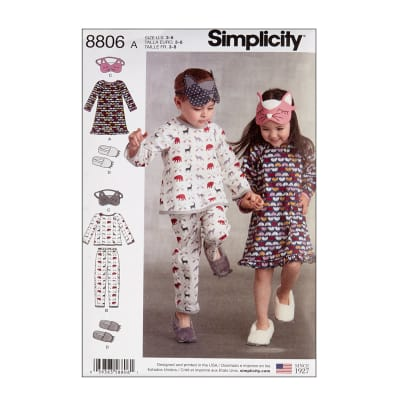 Simplicity 8806 Child Dress, Top, Pants, Eye Mask and Slippers A (Sizes 3-4-5-6-7-8)