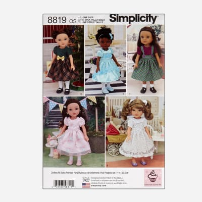 """Simplicity 8819 14"""" Doll Clothes OS (One Size)"""