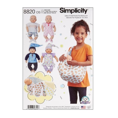 """Simplicity 8820 15"""" Baby Doll Clothes OS (One Size)"""