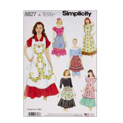 Vintage Aprons, Retro Aprons, Old Fashioned Aprons & Patterns Simplicity 8827 Misses Aprons A (Sizes S-M-L) $11.97 AT vintagedancer.com