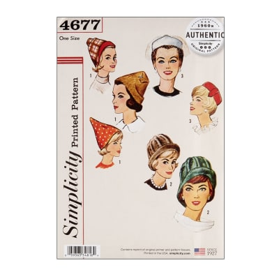 1950s Women's Hat Styles & History 1960s Hats Simplicity 4677 Vintage Set of Hats OS (One Size) $13.77 AT vintagedancer.com