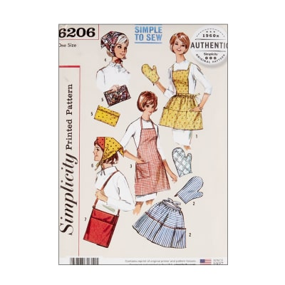 Vintage Aprons, Retro Aprons, Old Fashioned Aprons & Patterns 1960s Simplicity 6206 Vintage Gift and Accessories OS (One Size) $13.77 AT vintagedancer.com