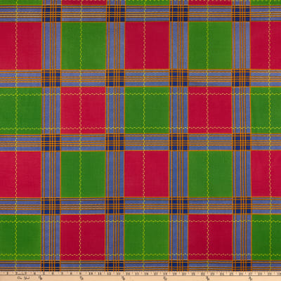 Supreme Kente African Print 6 Yards Plaid Red