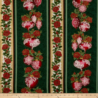 Benartex A Festive Season 3 Festive Lace Stripe Green/Red