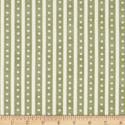 Benartex My Secret Garden Daisy Scroll Stripe Green