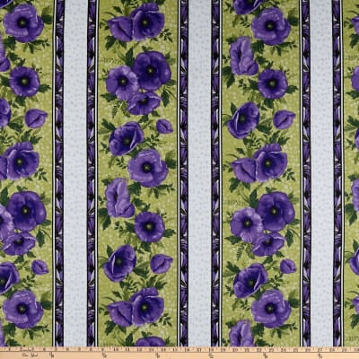 Benartex Midnight Poppies Stripe Green/Purple