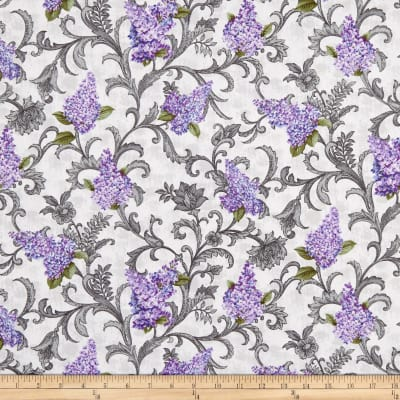 Benartex Lilacs in Bloom Lilac Vine Scroll Light Grey