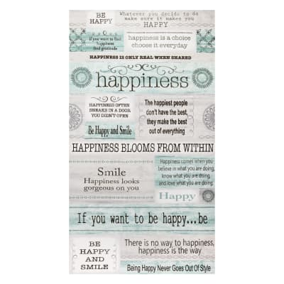 """Contempo Words to Live By Happiness 24"""" Panel Grey/Multi"""