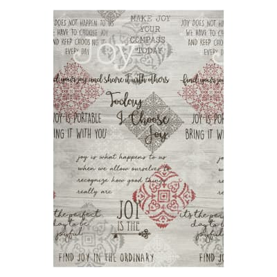 """Contempo Words to Live By Joy 24"""" Panel Grey/Multi"""